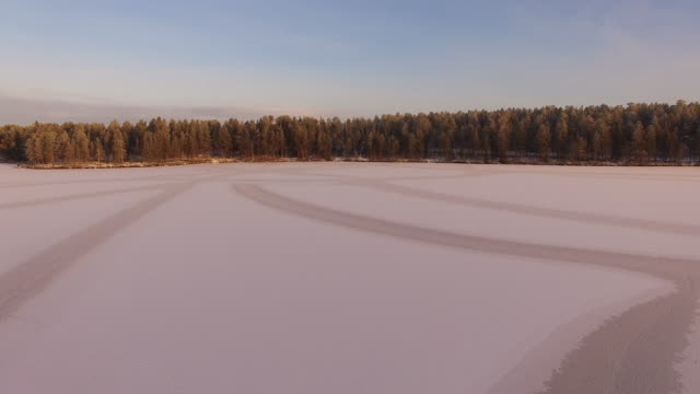 Aerial view of Lake Torasjärvi at sunrise, Lapland, Finland
