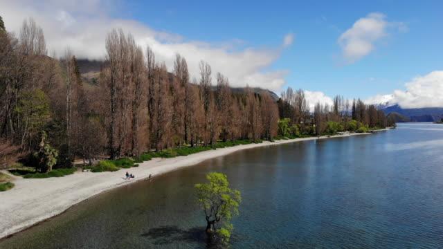 vidéos et rushes de vue aérienne du lac wanaka, nouvelle-zélande - mont aspiring