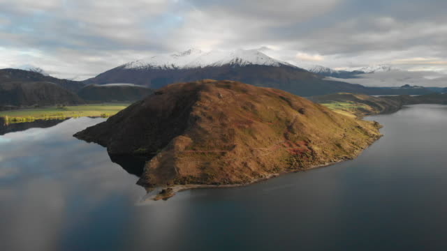aerial view of lake wanaka, new zealand - drone stock videos & royalty-free footage
