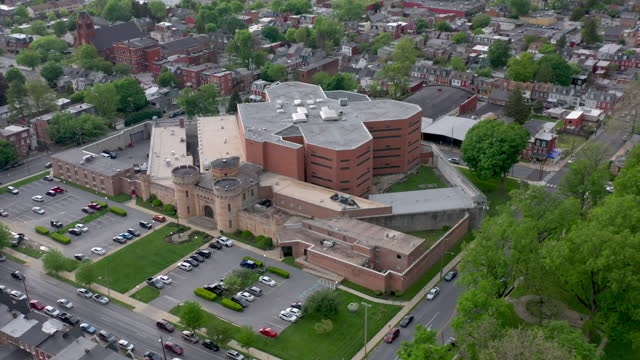 aerial view of lancaster county prison - lancaster pennsylvania stock videos & royalty-free footage