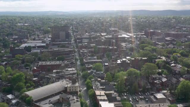aerial view of lancaster, pennsylvania - lancaster pennsylvania stock videos & royalty-free footage