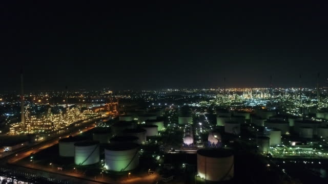 Aerial view of Land scape of Oil refinery plant at night