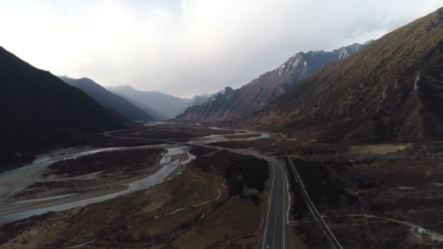 Aerial View of Landscape and Road in Tibet