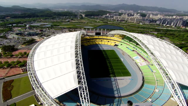 aerial view of landscape of daegu stadium (daegu world cup stadium) - daegu stock videos and b-roll footage