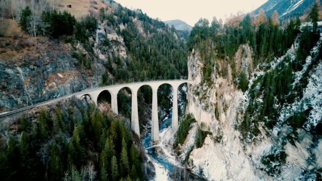Aerial view of Landwasser viaduct in Switzerland