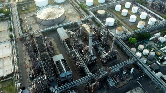 4K Aerial view of large oil refinery plant