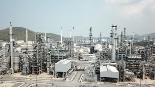 aerial view of large oil refinery - industrial district stock videos & royalty-free footage