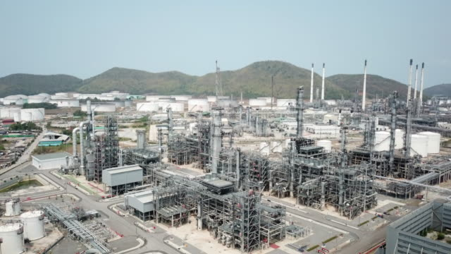 Aerial view of large oil refinery