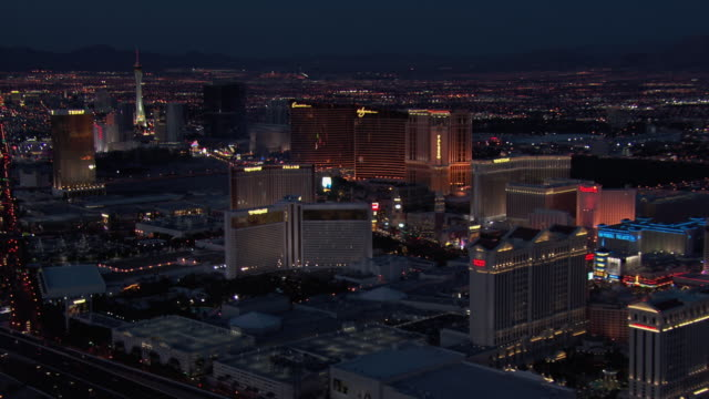 aerial view of las vegas at night, nevada, united states of america. - the palazzo las vegas stock videos & royalty-free footage