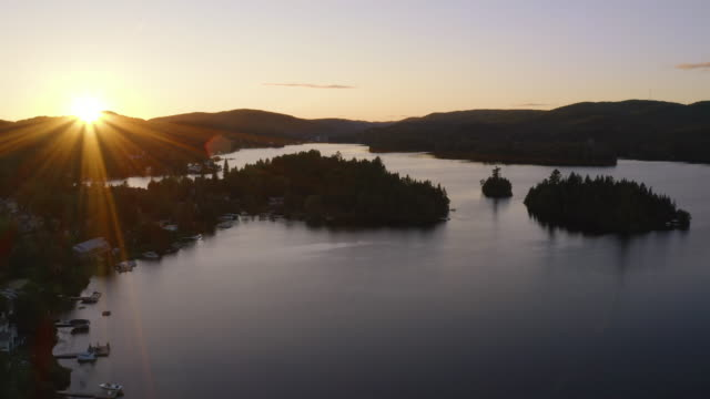 Aerial View of Laurentian's Landscape at Sunset, Quebec, Canada