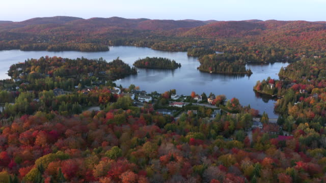 aerial view of laurentian's landscape in autumn at sunset, quebec, canada - tourist resort stock videos & royalty-free footage