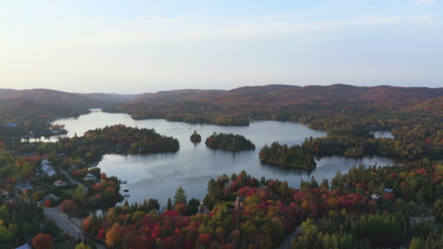 aerial view of laurentian's landscape in autumn at sunset, quebec, canada - lake stock videos & royalty-free footage
