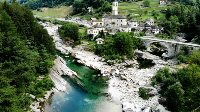 aerial view of lavertezzo village - ticino canton stock videos and b-roll footage