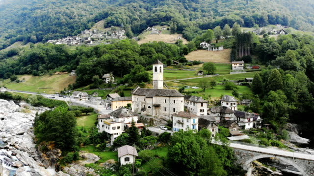 aerial view of lavertezzo village - switzerland stock videos & royalty-free footage