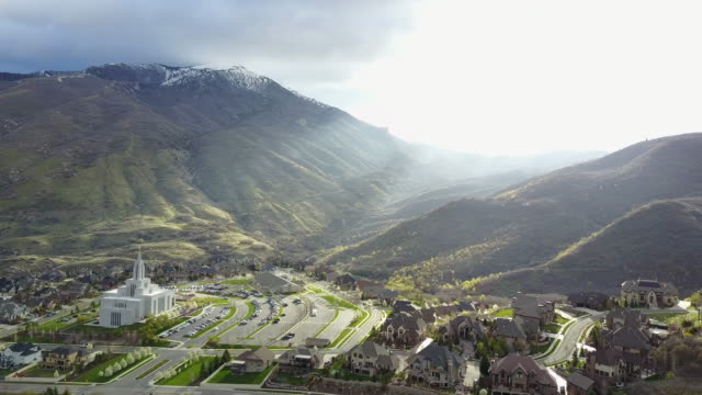 aerial view of lds temple and city - utah stock videos & royalty-free footage