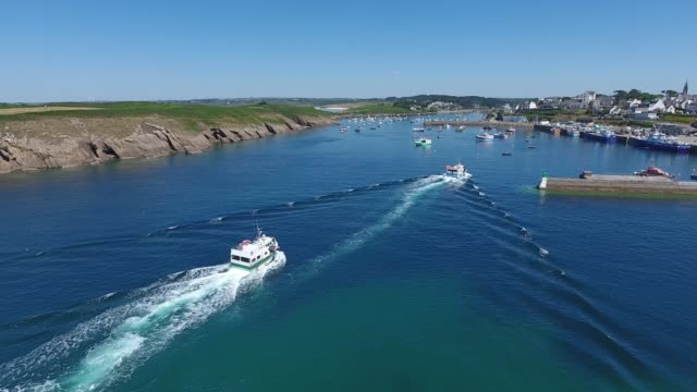 """aerial view of """"le conquet"""" harbour - bretagna video stock e b–roll"""