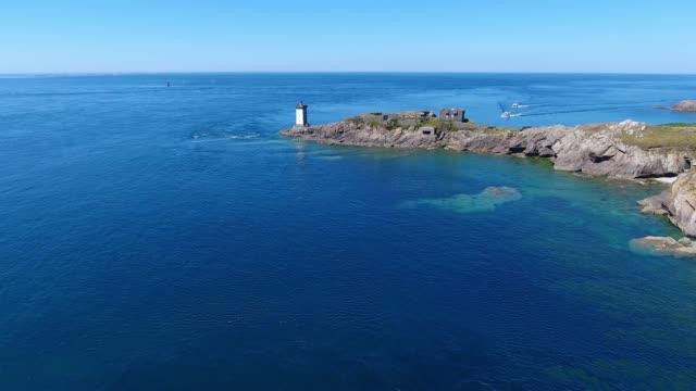 """vidéos et rushes de aerial view of """"le conquet"""" harbour - bretagne"""