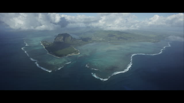 """Aerial View of Le Morne Brabant and the """"Underwater Waterfall"""""""