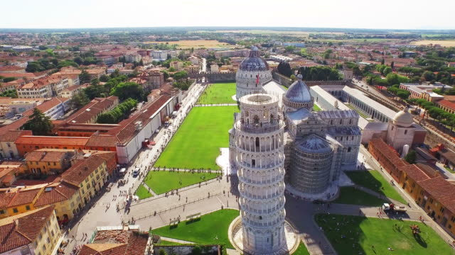 Aerial view of Leaning Tower of Pisa