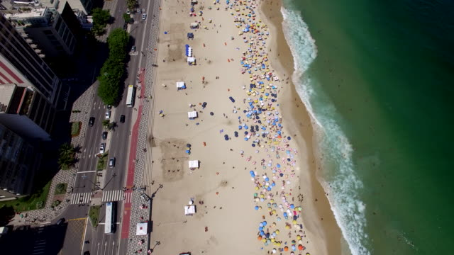 aerial view of leblon beach, rio de janeiro - レブロン点の映像素材/bロール