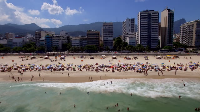 aerial view of leblon beach, rio de janeiro - view into land stock videos & royalty-free footage