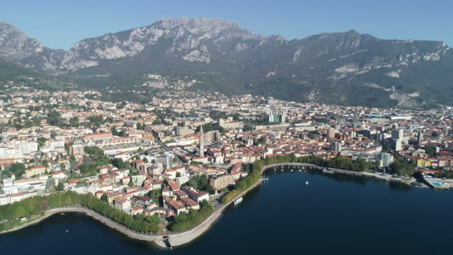 Aerial view of Lecco city