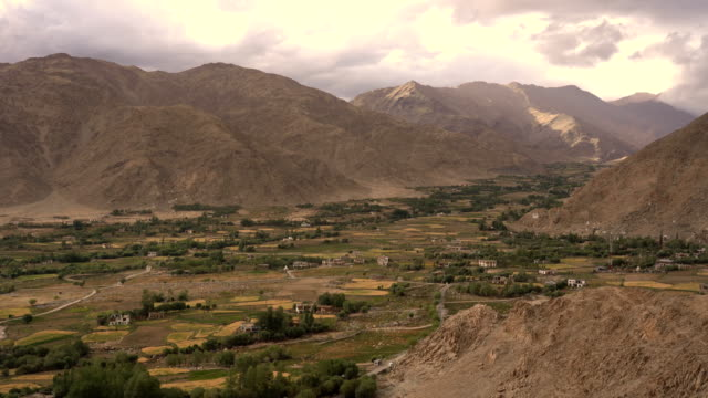 aerial view of leh city in leh, ladakh, india - north stock videos & royalty-free footage