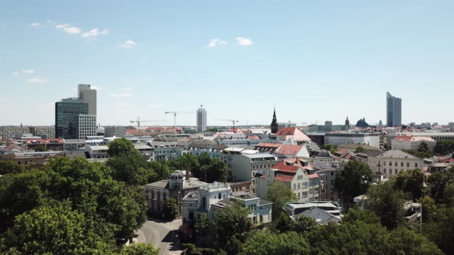aerial view of leipzig skyline in summer - viewpoint stock videos & royalty-free footage