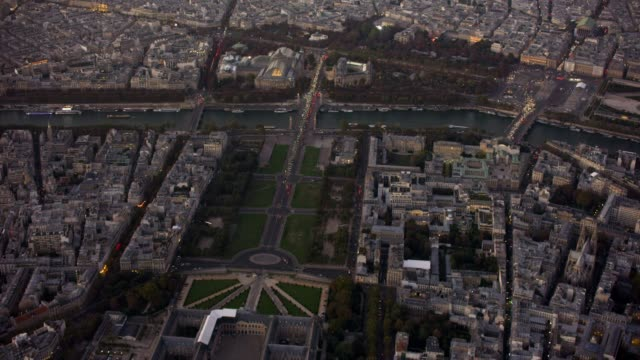 Aerial view of Les Invalides in Paris France, sunset