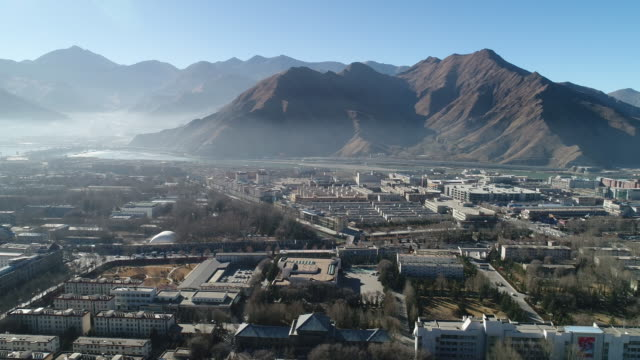 aerial view of lhasa in china - economy stock videos & royalty-free footage