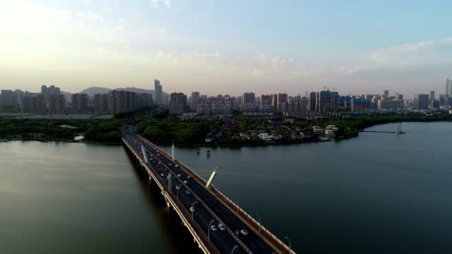 Aerial view of Li lake bridge park at dusk