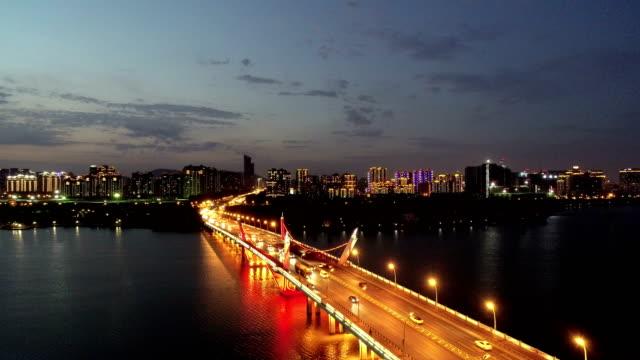Aerial view of Li lake bridge park at night