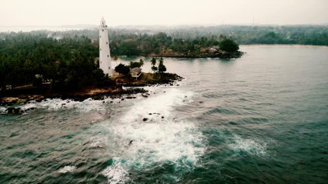 aerial view of lighthouse in sri lanka - sri lanka stock videos & royalty-free footage