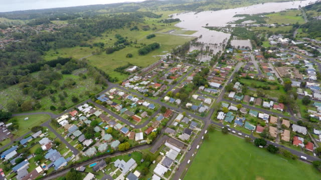 aerial view of lismore country town in australia with flood - town stock videos & royalty-free footage