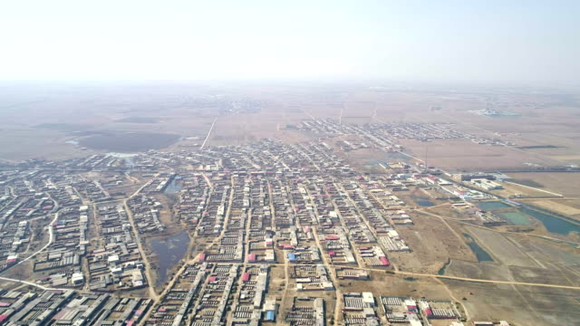 Aerial view of Liutaizhuang town which next to a wind power plant on March 10 2017 at Qinhuangdao China