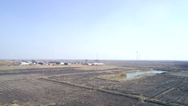Aerial view of Liutaizhuang wind power plant on March 10 2017 at Qinhuangdao China