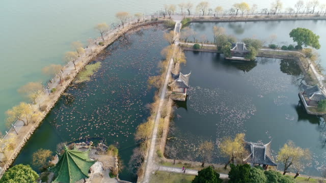 aerial view of liyuan scenic spot - wuxi stock videos and b-roll footage
