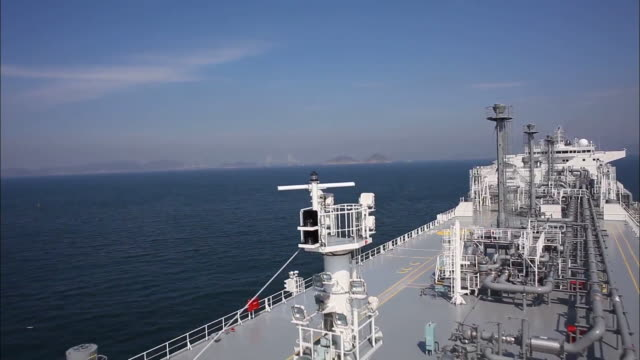 Aerial view of LNG carrie moving in Donghae East sea area