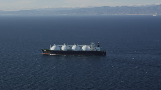 aerial view of LNG carrier, RED R3D 4k