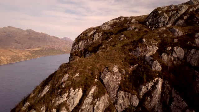aerial view of loch maree in the north west of scotland - scottish highlands stock videos and b-roll footage