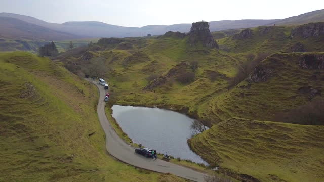 aerial view of loch mealt and surrouding landscapes, isle of skye, scottland - bay of water stock videos & royalty-free footage