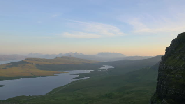 Aerial view of Loch near Old Man Skye