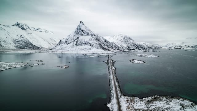 aerial view of lofoten islands in norway - idyllic stock videos & royalty-free footage