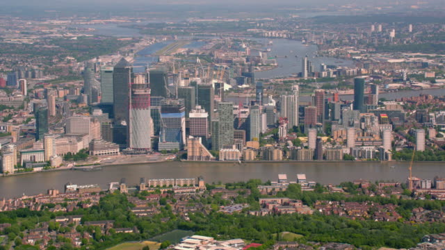 Aerial View of London and Canary Wharf UK. 4K