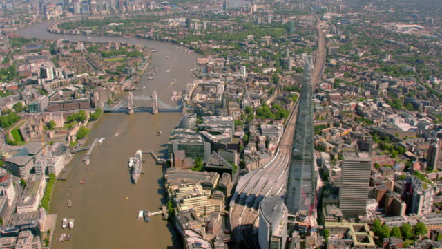 Aerial View of London and The Shard London Bridge, UK. 4K