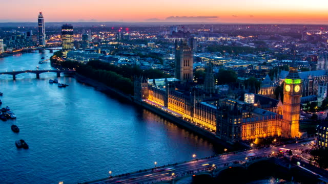 aerial view of london big ben - london england stock videos and b-roll footage