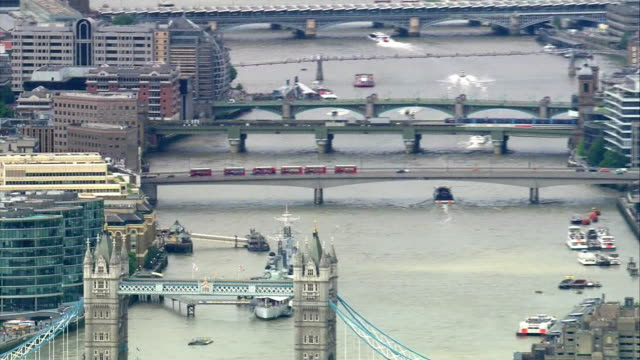 aerial view of london bridge and the entrance to borough market the morning after it suffered a terrorist attack - terrorism stock videos & royalty-free footage