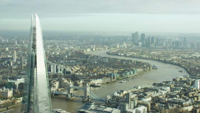 aerial view of london city and tower bridge - shard london bridge stock videos & royalty-free footage