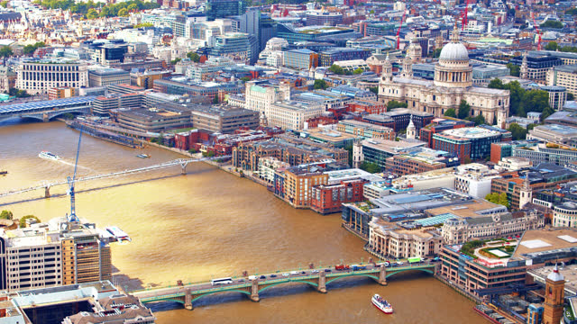 aerial view of london downtown. st. paul's cathedral - central london stock videos & royalty-free footage