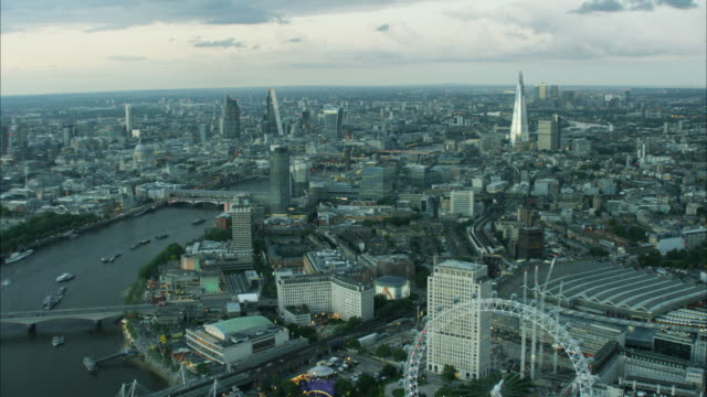 Aerial view of London Eye and Shard building